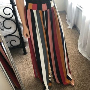 Pants - Multi colored wide leg striped pants
